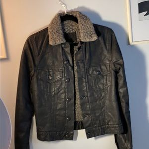 R13 shearling lines jeans jacket black